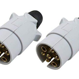2 Caravan Grey Plastic Plugs - S Type 7 Pin MP29B